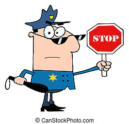 Caucasian Police Officer Holding A Stop Sign And Club