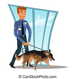 Caucasian Police officer with dog, canine security policeman officer and watchdog, man in uniform holding German Shepherd, cartoon cop isolated on white vector illustration