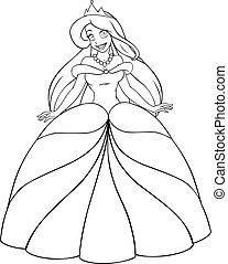 Caucasian Princess Coloring Page - Vector illustration...