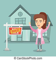 Caucasian real estate agent with sold placard.