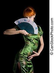 caucasian redhead playing asian