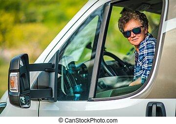 Woman Driving RV Camper