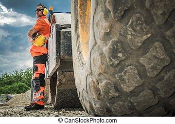 Road Roller Operator - Caucasian Road Roller Operator Worker...