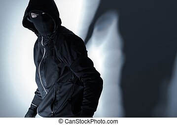 Robber in Black Mask - Caucasian Robber in Black Mask and ...