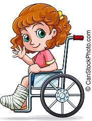 caucasian, rullstol, flicka, sittande
