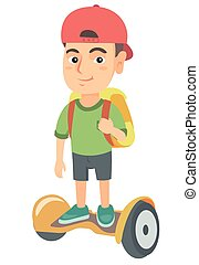 Caucasian schoolboy riding on gyroboard to school.