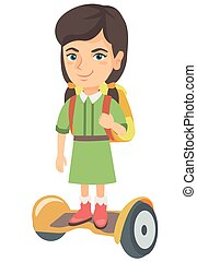 Caucasian schoolgirl riding on gyroboard to school