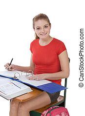 Caucasian schoolgirl student in math class