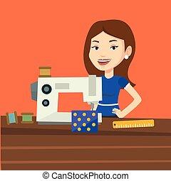 Seamstress using sewing machine at workshop. - Caucasian...