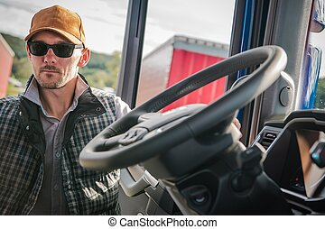 Caucasian Semi Truck Driver