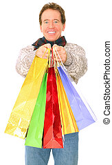 Caucasian Senior Man Carrying Shopping Bags Isolated