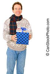 Caucasian Senior Man In Winter Dress Holding Gift
