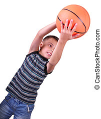 boy, basketball player makes a throw with a ball