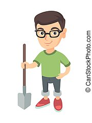 Caucasian smiling boy in glasses holding a shovel.