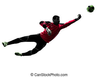 caucasian soccer player goalkeeper man punching ball silhouette
