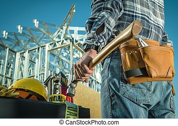 Steel Construction Worker - Caucasian Steel Construction...