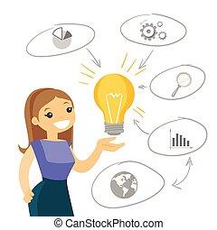 Caucasian student holding a bright idea light bulb