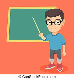 Caucasian student pointing at the blackboard.