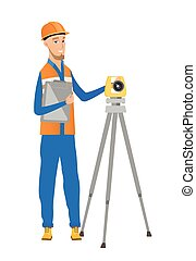 Caucasian surveyor builder working with theodolite -...