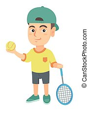Caucasian tennis player holding racket and ball.