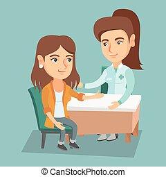 Caucasian therapist doctor consulting patient.