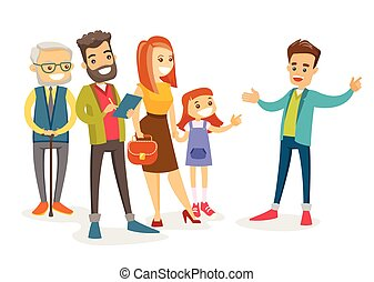 An organized group of caucasian white tourists sightseeing and listening to guide telling the history of the city. Tourists having excursion with guide. Vector isolated cartoon illustration.