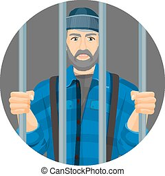 Caucasian unshaven man behind bars in round button isolated on white
