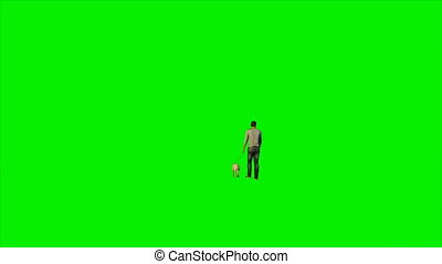 Caucasian walking his dog against green screen, Luma Matte attached, 4K