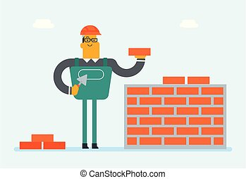 Caucasian white builder building a brick wall.