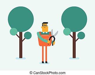 Caucasian white farmer cutting tree with scissors.