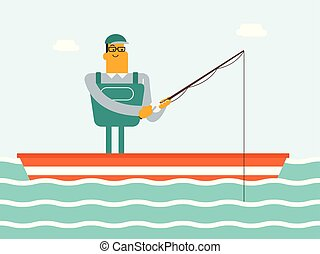 Caucasian white fisherman fishing from the boat.