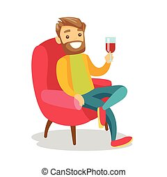Caucasian white man drinking wine in the chair.