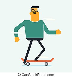 Caucasian white man riding a skateboard.