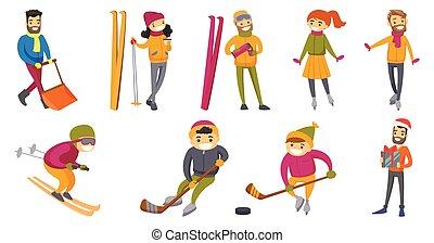 Caucasian white people playing winter sports set.