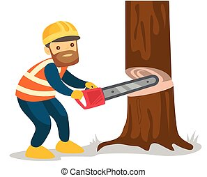 Caucasian white woodcutter working with a chainsaw