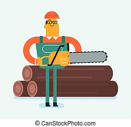 Caucasian white woodcutter working with chainsaw.