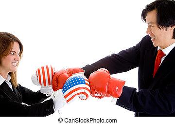 Caucasian Woman Asian Man Boxing Gloves American Flag