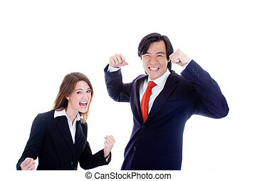 Caucasian Woman Asian Man in Suits Cheering