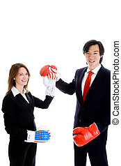 Caucasian Woman Asian Man Raising Fists Boxing Gloves American