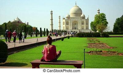 Caucasian woman at Taj Mahal