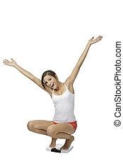 Caucasian Woman - Beautiful Caucasian woman weighting ...