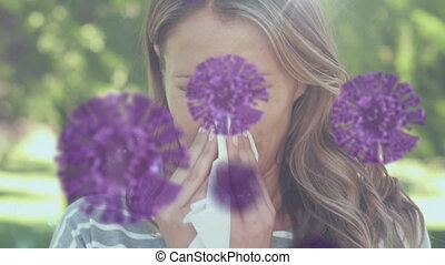 Caucasian woman blowing her nose with spreading coronavirus ...