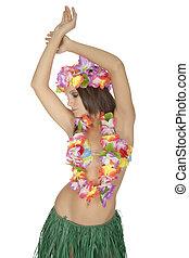 Caucasian woman pretending to be a Hula Dancer