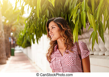Caucasian woman contemplating while looking away