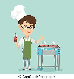 Caucasian woman cooking steak on the barbecue.