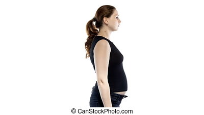 Caucasian woman during pregnancy on white background