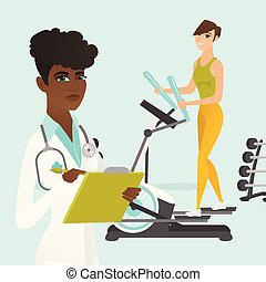 Caucasian woman exercising on elliptical trainer. - Young...