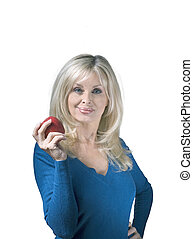 Caucasian woman holding apple