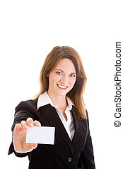 Caucasian woman holding out a business card.  Isolated on a white background.
