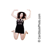 Caucasian Woman Jumping In Black Dress On White Background